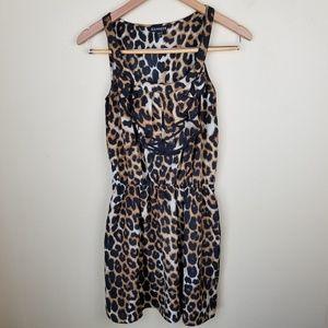 Express Leopard Print Ruffle Tank Mini Dress SM